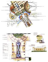 广场入口喷泉设计手绘图JPG素材下载 手绘素材设计图片