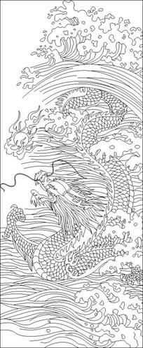 海龙戏珠雕刻图案
