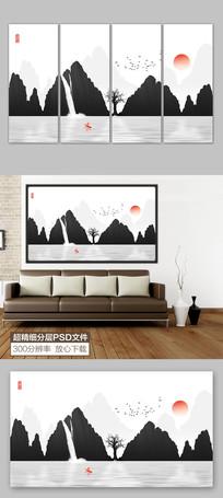 黑白水墨山水装饰画