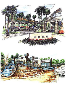 喷泉驳岸设计手绘图