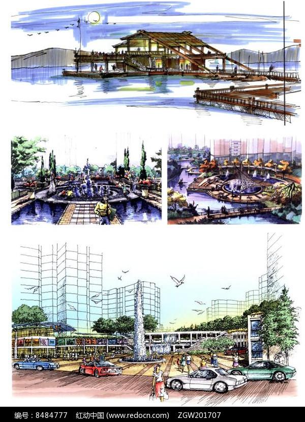 原创设计稿 方案意向 手绘素材 喷泉水景设计手绘图