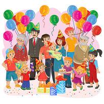 庆祝生日幸福的一家人插画素材