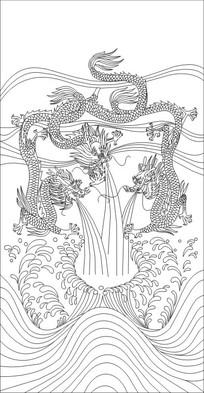 三龙戏水雕刻图案