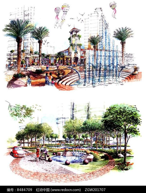 原创设计稿 方案意向 手绘素材 椭圆形喷泉横排设计
