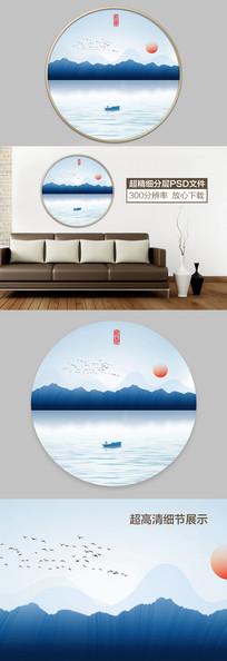 新中式水墨山水装饰画 PSD