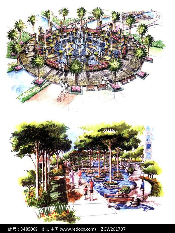 圆形喷泉设计手绘图图片