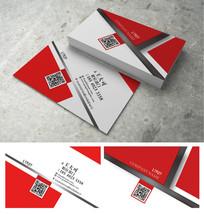 红色条纹金属质感名片