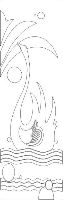 天鹅雕刻图案 CDR