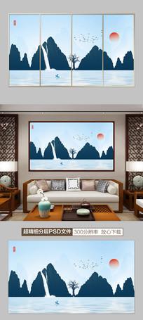 新中式山水水墨画