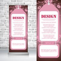 粉色女性公司文化介绍框易拉宝