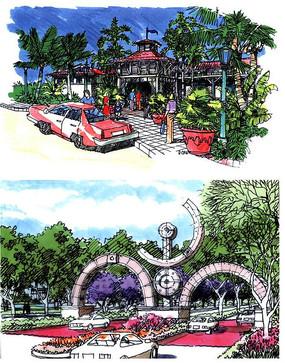 公园入口景观设计手绘图