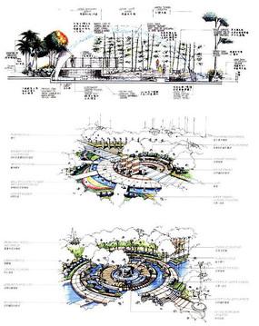 喷泉广场手绘