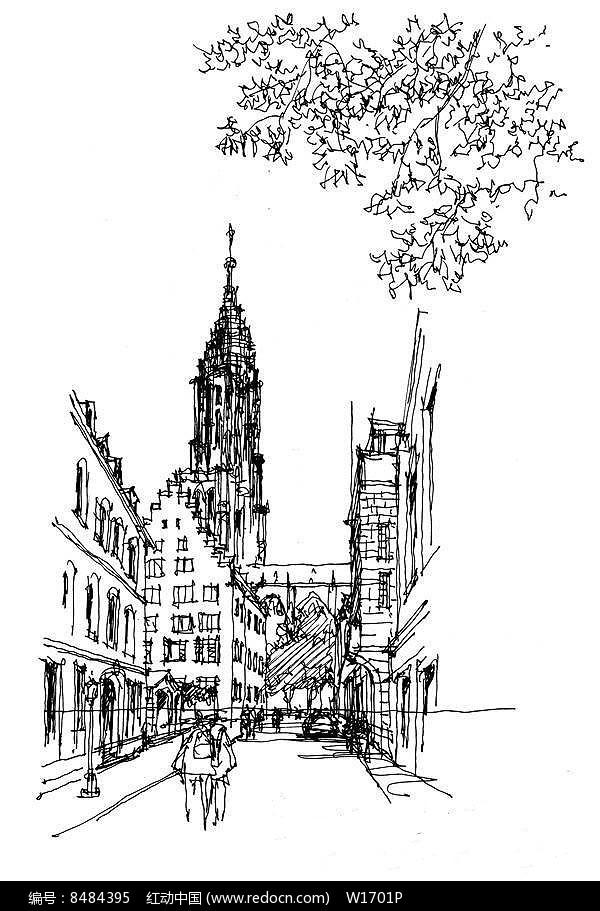 国外城市街景手绘图片