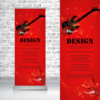 红黑色吉他音乐乐器易拉宝
