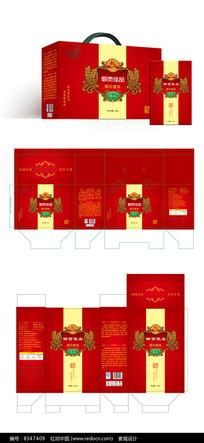 红色御贡佳品稻花香米大米包装设计