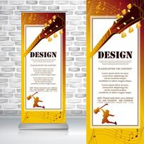 黄色吉他音乐音符乐器易拉宝