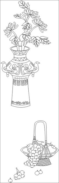菊花花瓶雕刻图案