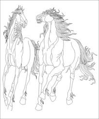 骏马雕刻图案
