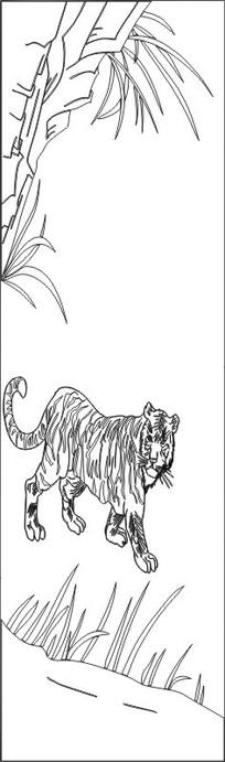 老虎下山雕刻图案
