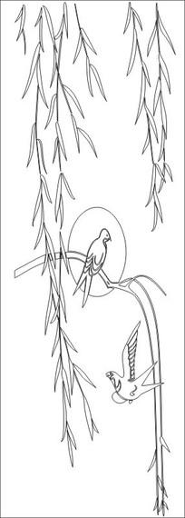 柳叶小鸟雕刻图案图片