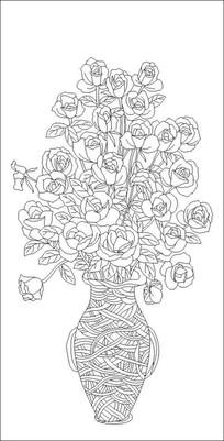 玫瑰花瓶雕刻图案
