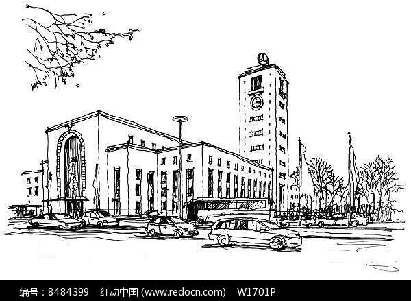欧洲城市街景手绘JPG素材下载 编号8484399 红动网图片