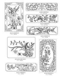 七种不同木材雕花CAD图块