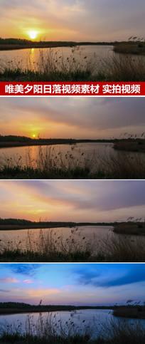 日落延时摄影夕阳湖面
