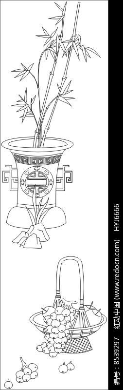 竹子枇杷雕刻图案图片