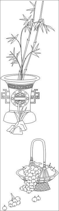 竹子枇杷雕刻图案
