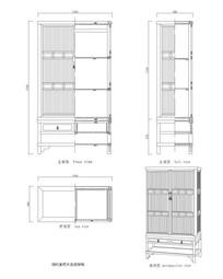 紫檀木直棂架格CAD图纸