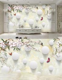 3D现代花卉 圆球背景墙图
