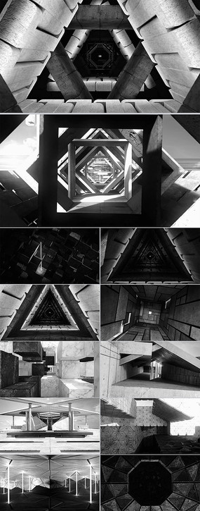 三维立体空间建筑光影cg 空间建筑艺术室内设计视频 大脑神经系统电波