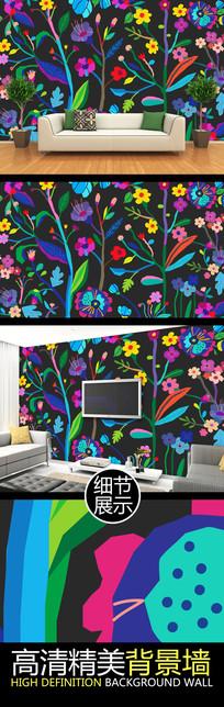 手绘时尚花纹装饰电视背景墙