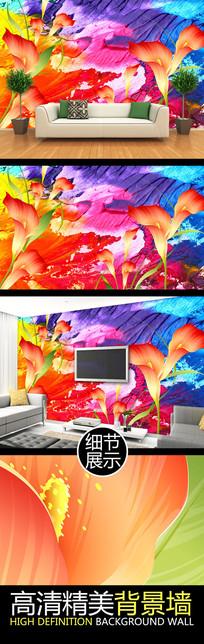 水彩笔触花朵艺术电视背景墙