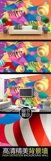 3D立体几何图案创意背景墙
