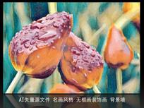 手绘花蕾室内装饰画