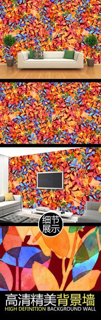 水彩叶片纹理艺术电视背景墙