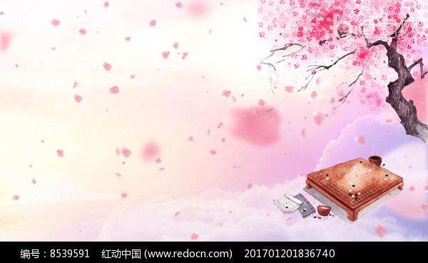 桃花树花瓣飘落唯美背景视频