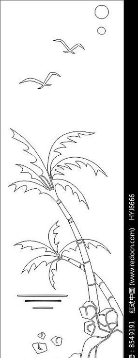 椰子风光雕刻图案
