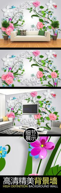 优雅立体花纹装饰电视背景墙