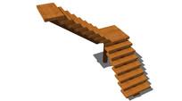 红色实木台阶模型