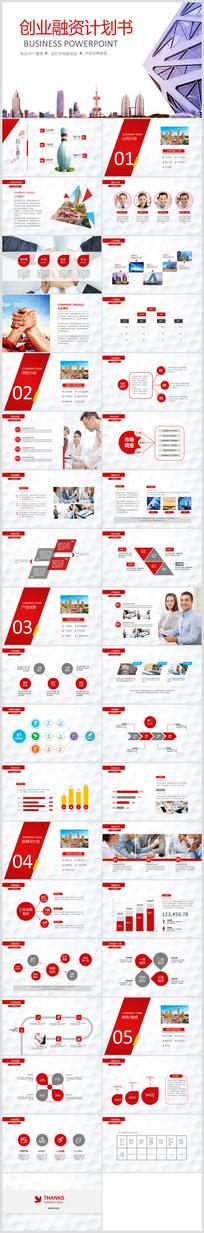 红色微创业计划书PPT模板