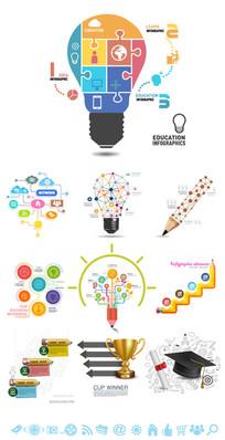 精致教育学习信息图元素素材