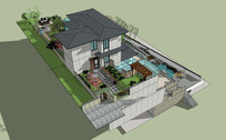 欧式别墅花园SU模型