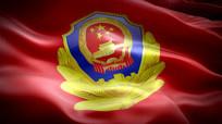 中国警察旗帜飘扬视频