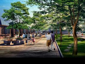 仿古商业步行街景观效果图
