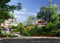 公园3D效果绿色全景效果图 JPG