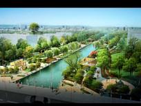 河道公园景观效果图设计