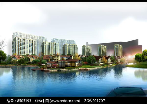 湖边别墅群园林景观设计图片